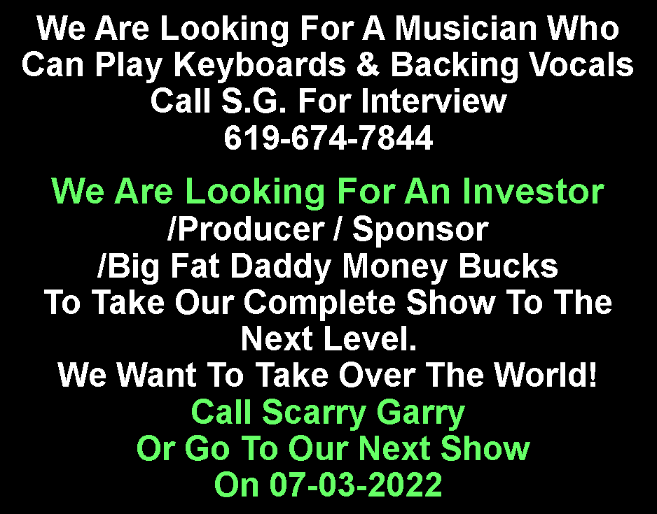 Text Box: WE ARE LOOKING FOR A MUSICIAN WHO CAN RECORD AND PLAY LIVE!